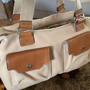 Fossil Canvas genuine Leather Bag